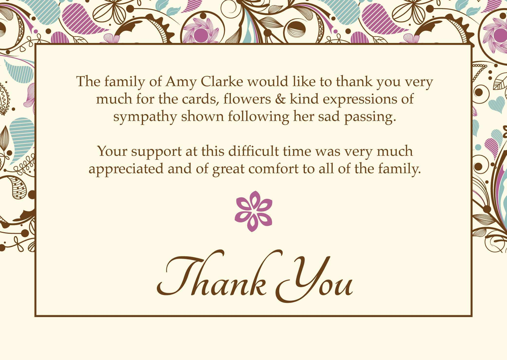21 Create Free Funeral Thank You Card Templates Microsoft Word Within Sympathy Thank You Card Template