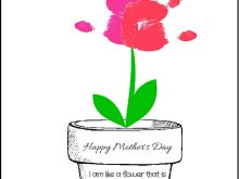 Flower Pot Mothers Day Card Template