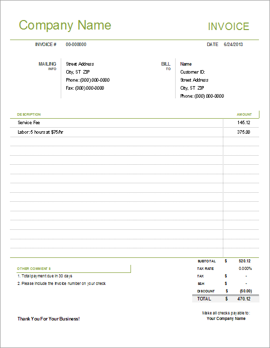 32 The Best Invoice Template Simple For Ms Word With Invoice Template Simple Cards Design Templates