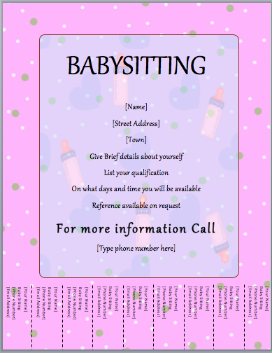 33 Best Babysitting Flyer Free Template Formating for Babysitting Flyer Free Template