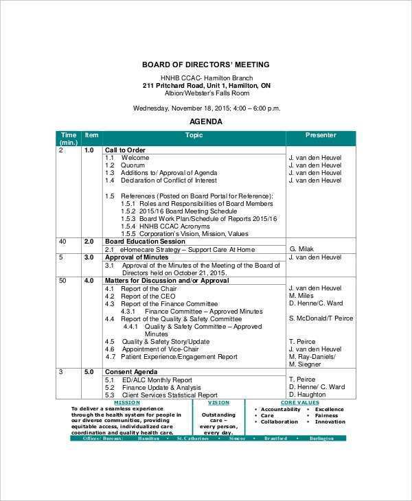 33 Blank Board Meeting Agenda Template Download with Board Meeting Agenda Template