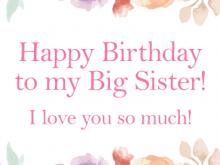 33 Printable Birthday Card Template For Sister with Birthday Card Template For Sister