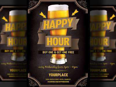 34 Customize Happy Hour Flyer Template Free With Stunning Design for Happy Hour Flyer Template Free