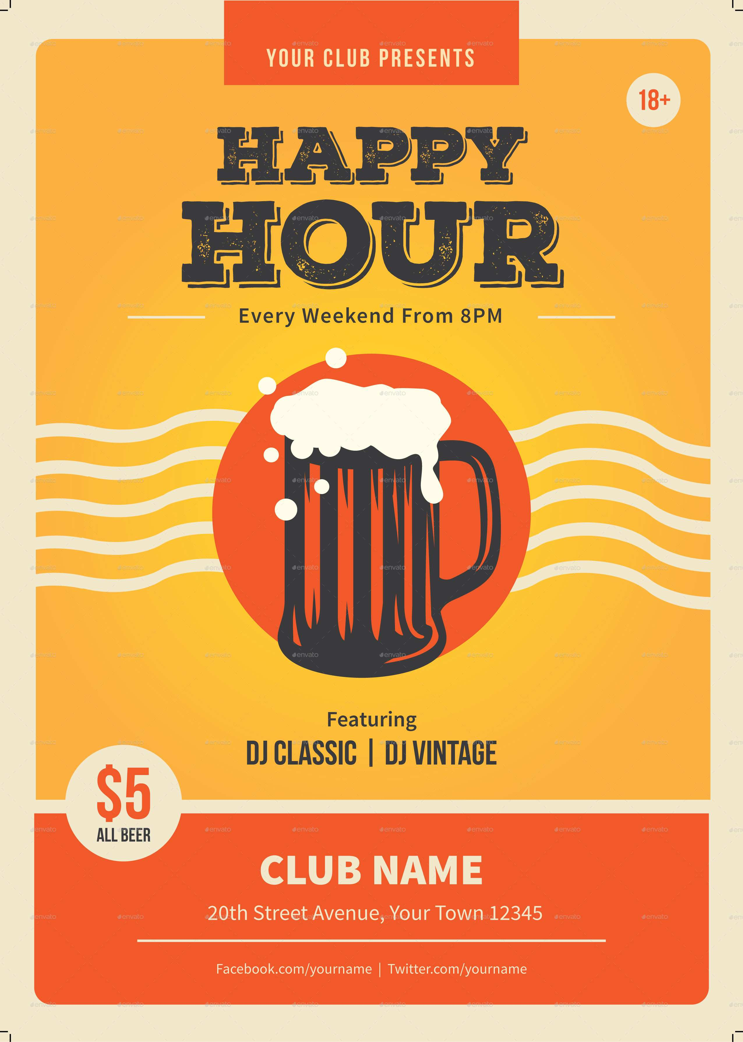 35 Creating Happy Hour Flyer Template Free PSD File with Happy Hour Flyer Template Free