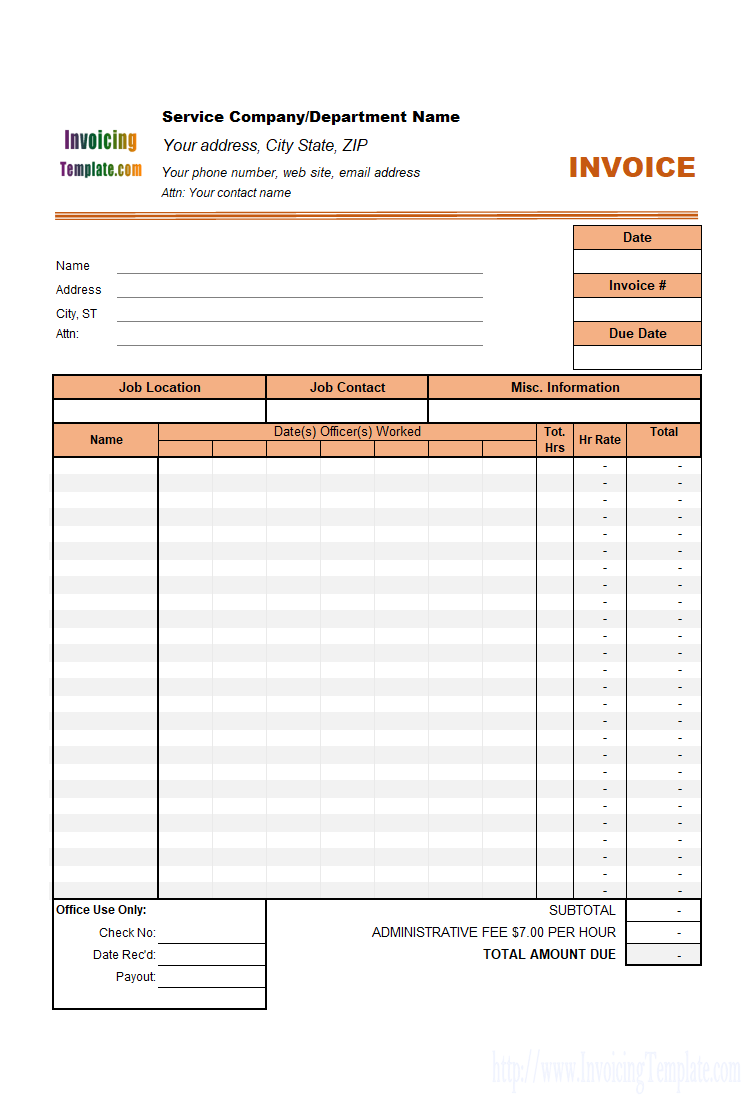 35 Format Blank Invoice Template For Hours Worked for Ms Word with Blank Invoice Template For Hours Worked