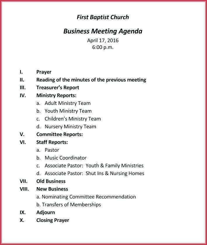 35 Free Church Meeting Agenda Template Maker for Church Meeting Agenda Template