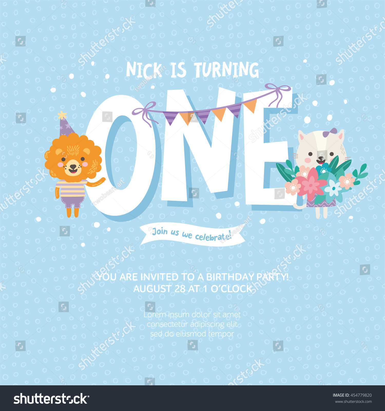 35 Report 1 Year Old Birthday Card Template For Free for 1 Year Old Birthday Card Template