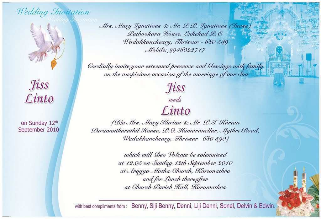 kerala christian wedding card templates