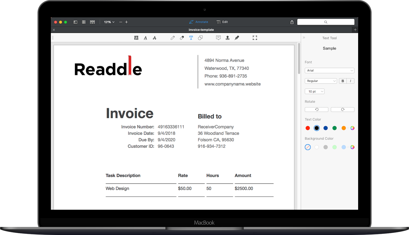 tax invoice template for mac