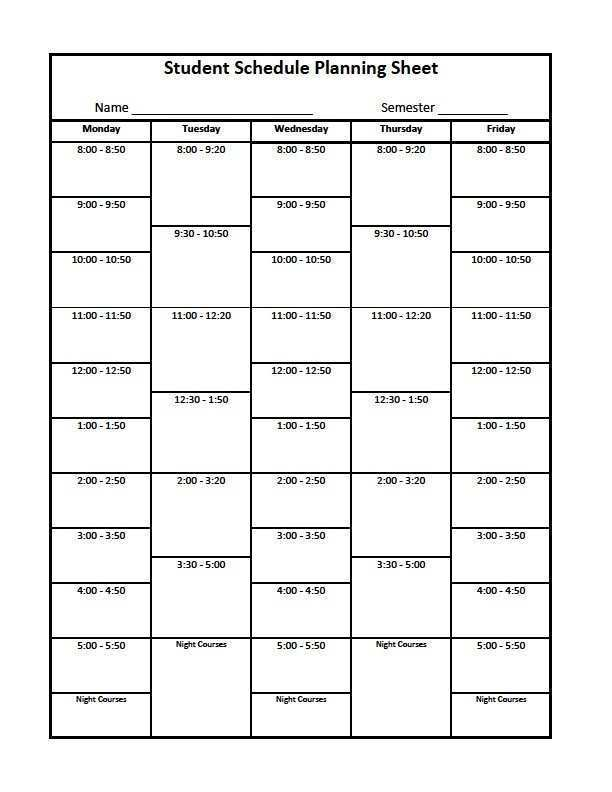 36 How To Create Blank Class Schedule Template Photo for Blank Class Schedule Template