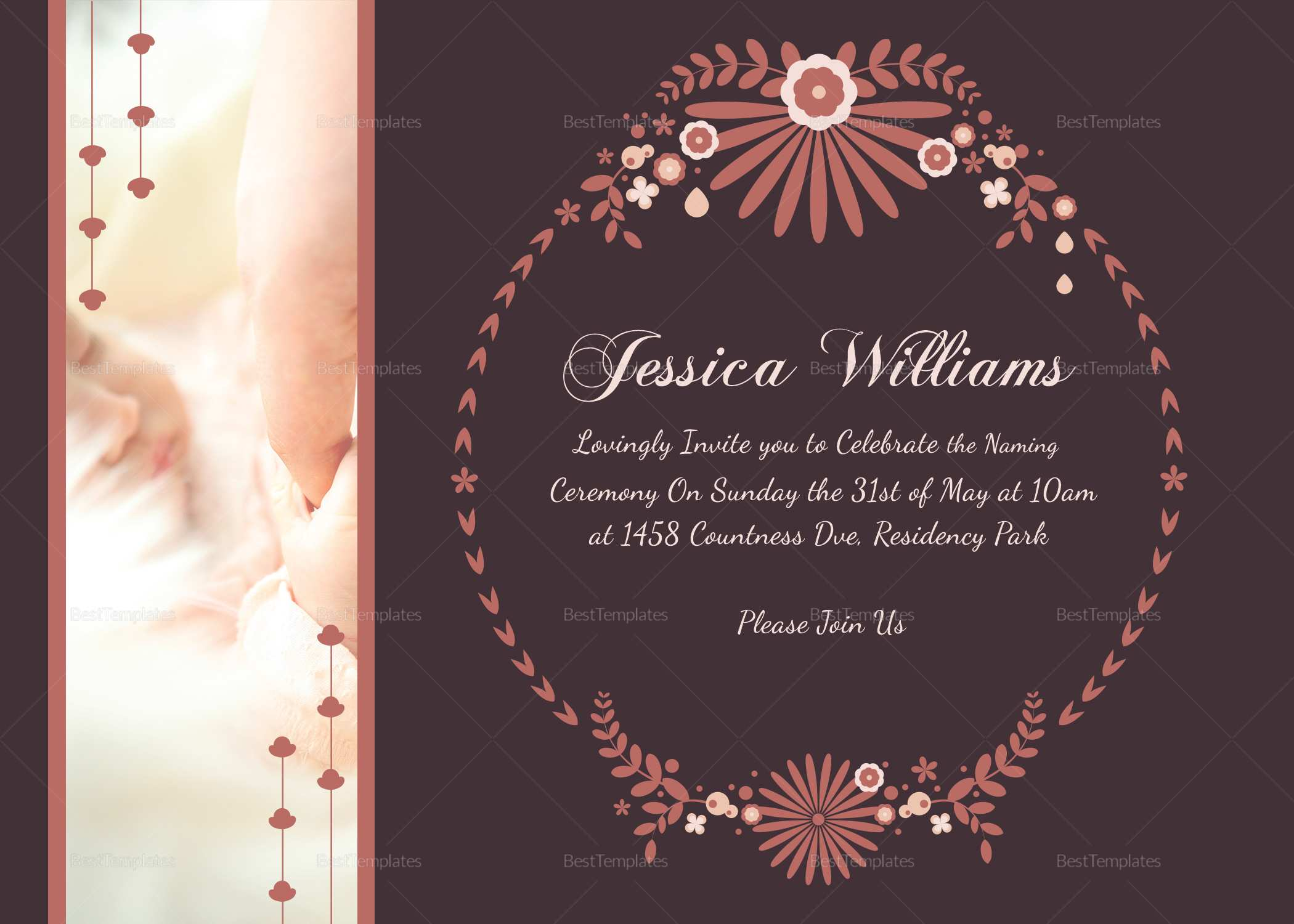 36 The Best Invitation Card Template For Naming Ceremony Photo for Invitation Card Template For Naming Ceremony