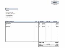 Contractor Service Invoice Template