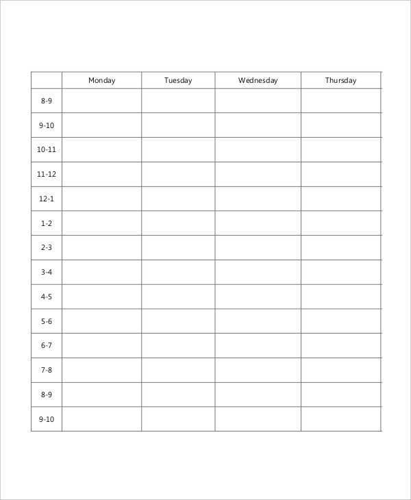37 Best Blank Class Schedule Template Now for Blank Class Schedule Template