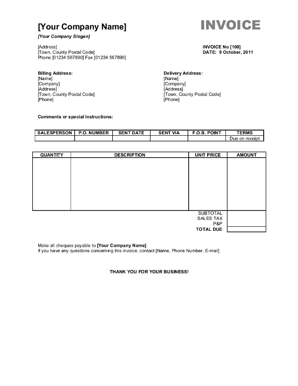 37 Free Generic Invoice Template Word Download With Generic Invoice Template Word Cards Design Templates