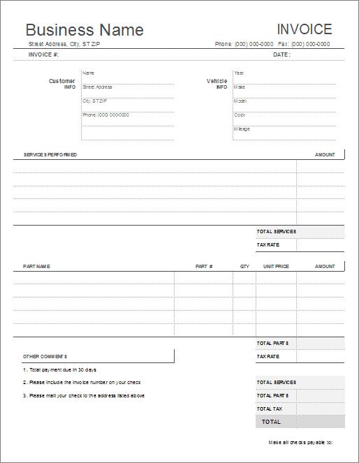 38 Creative Car Repair Invoice Template Excel Formating with Car Repair Invoice Template Excel