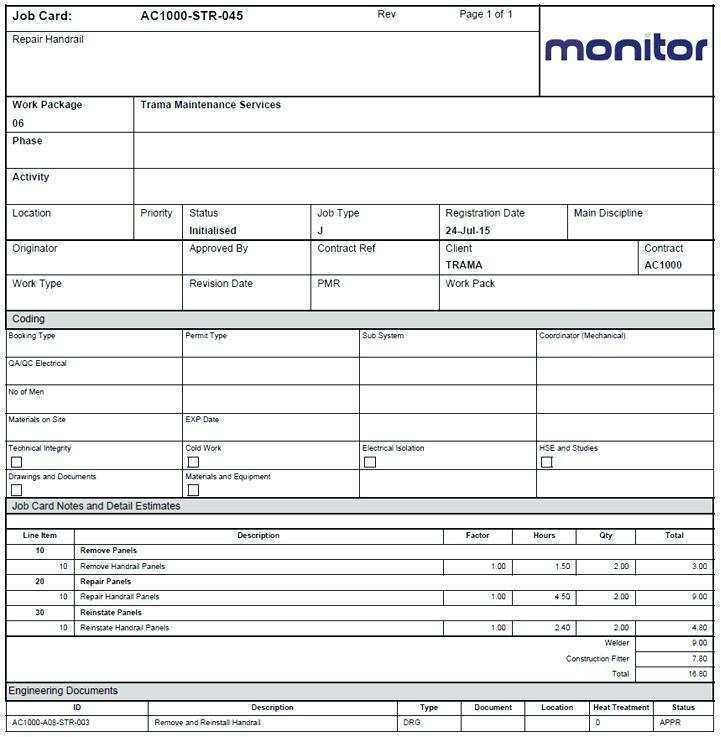38 Format Job Card Template Mechanic Now by Job Card Template Mechanic
