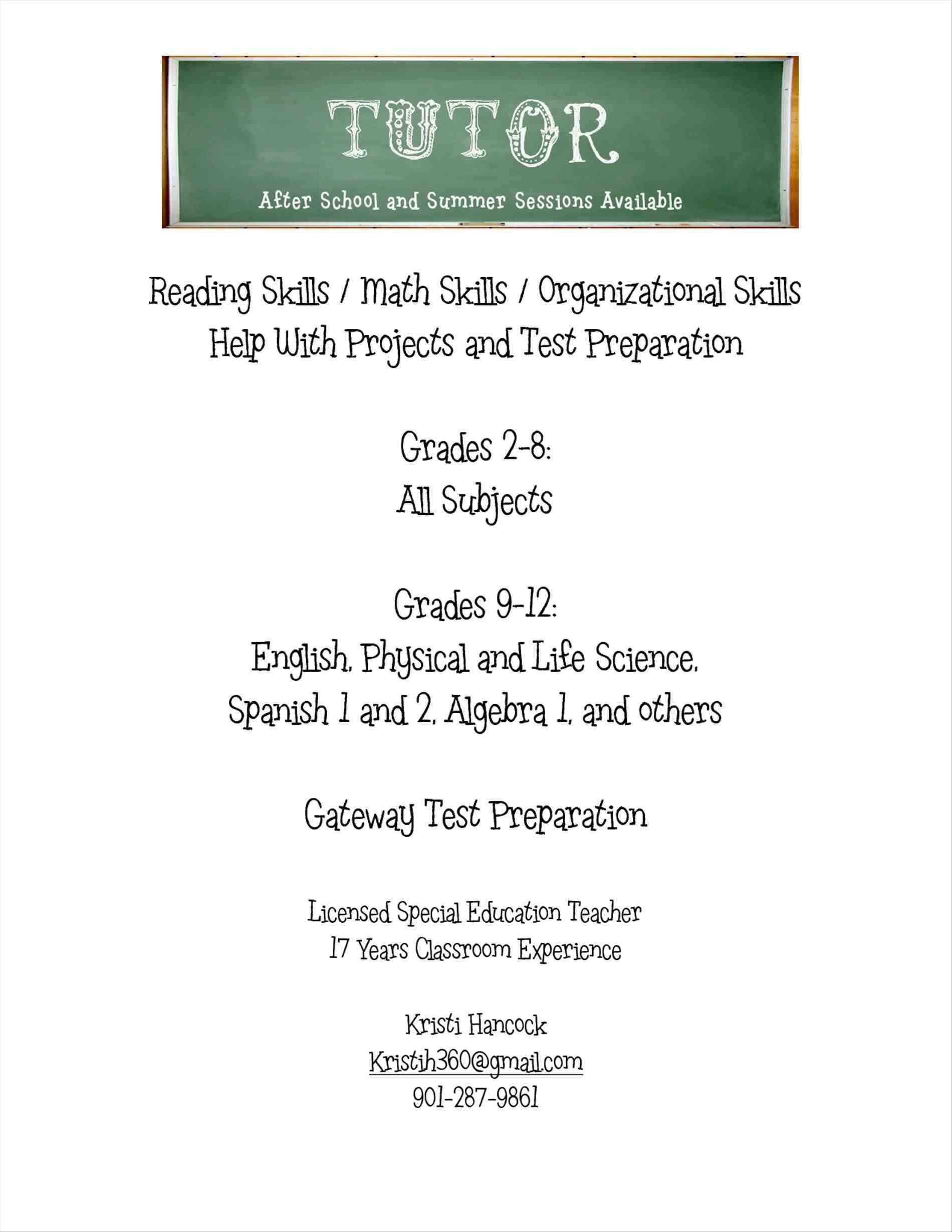 Tutoring Flyer Template Free from legaldbol.com