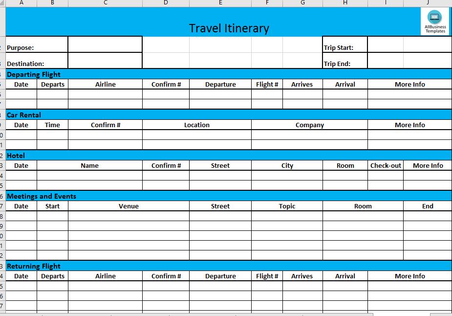 Travel Agenda Template Excel - Cards Design Templates