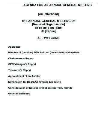 39 Customize Sample Agm Agenda Template For Free For Sample Agm Agenda Template Cards Design Templates
