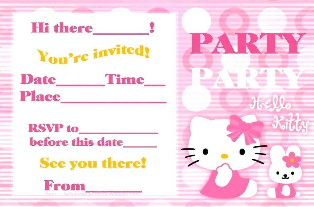 40 Printable Birthday Invitation Card Template Hello Kitty Layouts by Birthday Invitation Card Template Hello Kitty