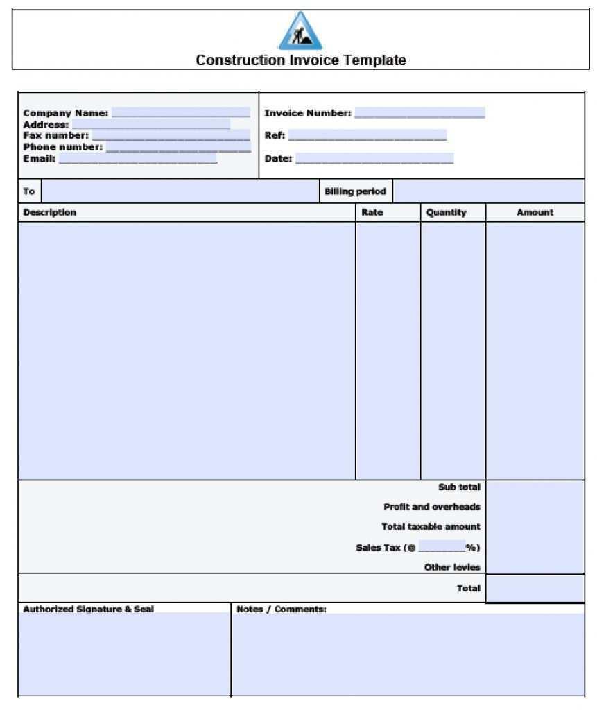 40 Printable Construction Company Invoice Template for Ms Word with Construction Company Invoice Template