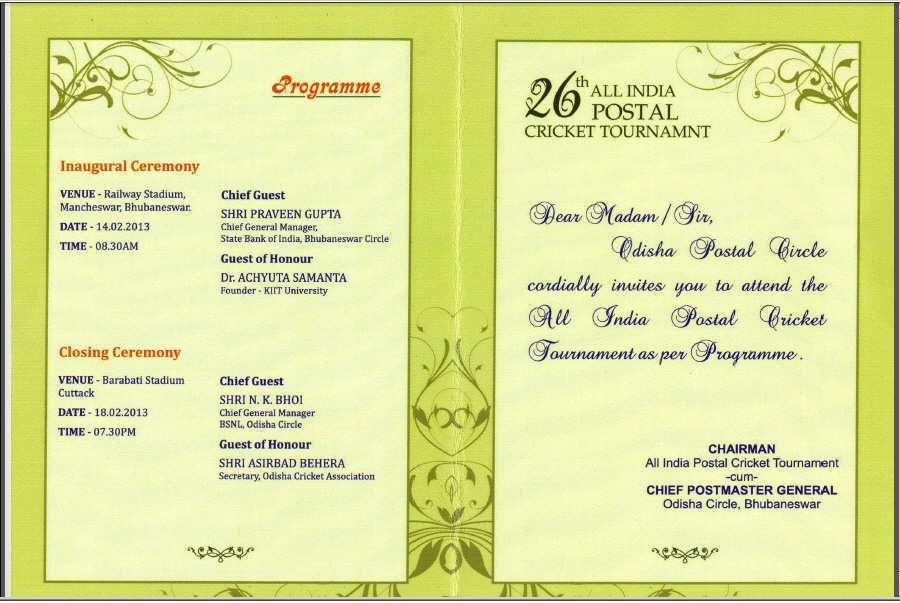 Invitation Card Format For Cricket Tournament Cards Design