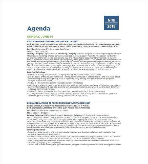 41 Format Conference Agenda Template Free in Word with Conference Agenda Template Free