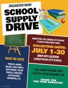 41 Free Back To School Supply Drive Flyer Template PSD File for Back To School Supply Drive Flyer Template