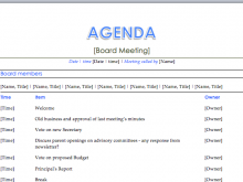 41 Report Board Meeting Agenda Template With Stunning Design by Board Meeting Agenda Template