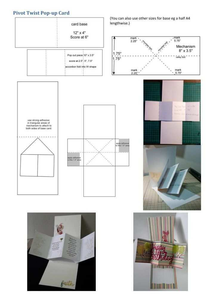42 Format Twist Pop Up Card Template in Photoshop with Twist Pop Up Card Template