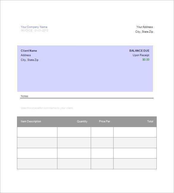 Blank Invoice Template Google Docs Cards Design Templates