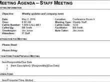Lunch Meeting Agenda Template