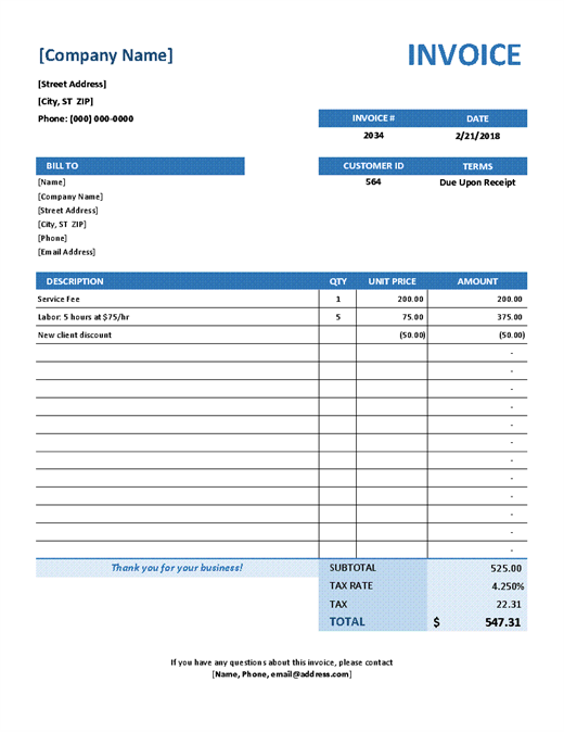 44 Create Company Invoice Template Excel in Photoshop for Company Invoice Template Excel