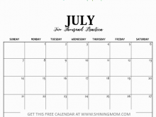 Daily Calendar Template July 2019