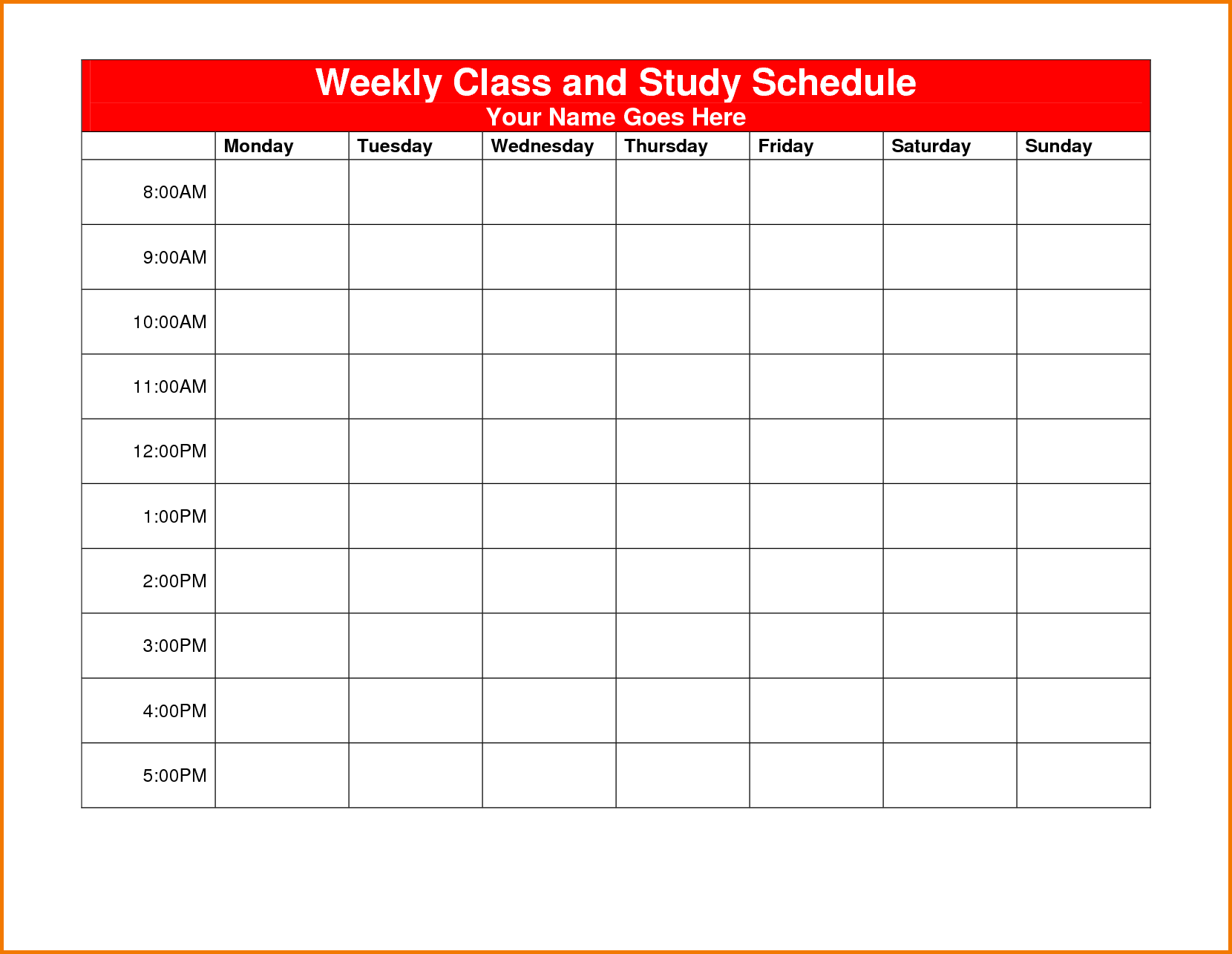 44 The Best Class Schedule Calendar Template Formating With Class