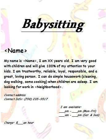 45 Online Babysitting Flyer Free Template for Ms Word for Babysitting Flyer Free Template