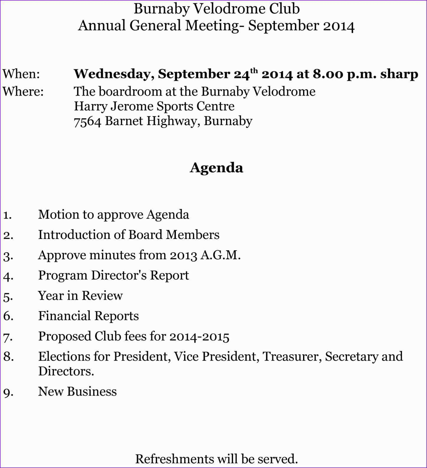 45 Standard Sample Agm Agenda Template With Stunning Design for Sample Agm Agenda Template