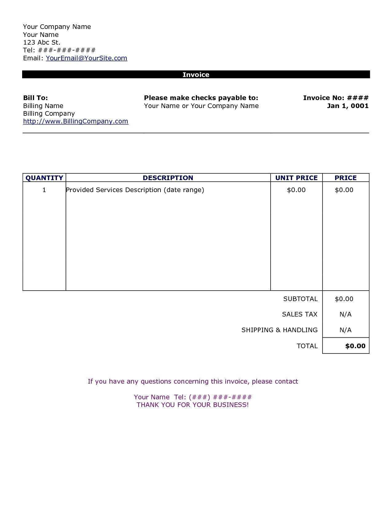45 The Best Personal Invoice Template Word Uk With Stunning