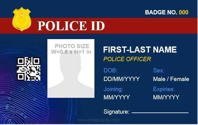 law enforcement id card template  cards design templates