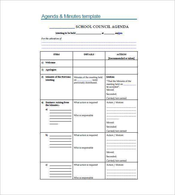 46 Standard Agenda Template For School Layouts by Agenda Template For School