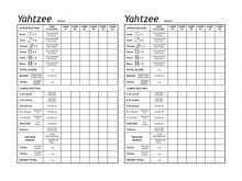 Yahtzee Card Template