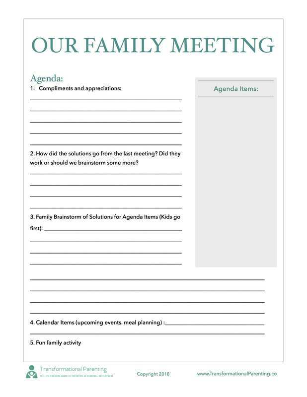 47 Free Agenda Family Meeting Template Layouts by Agenda Family Meeting Template