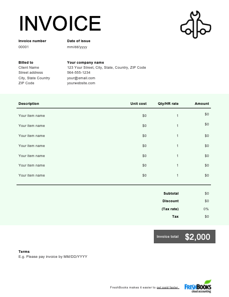 49 Blank Simple Auto Repair Invoice Template Psd File With Simple Auto Repair Invoice Template Cards Design Templates