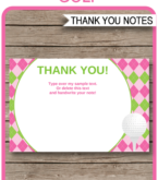 Golf Thank You Card Template