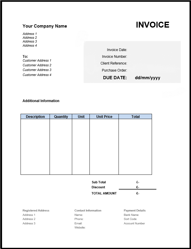 49 Free Invoice Template Uk In Word With Invoice Template Uk Cards Design Templates