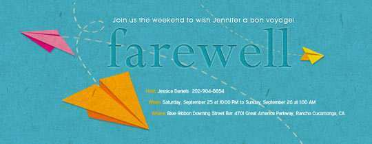 Farewell Invitation Card Template Free Download Cards