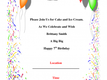 50 Free Printable 7Th Birthday Card Template With Stunning Design by 7Th Birthday Card Template
