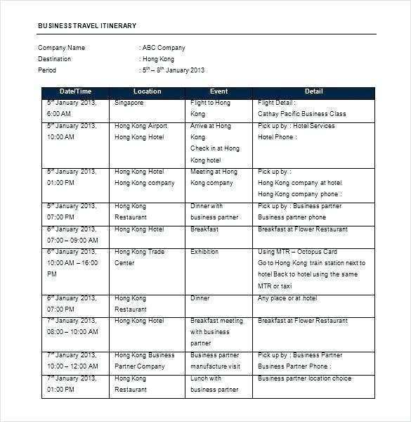 50 Free Printable Business Travel Itinerary Template Word for Ms Word for Business Travel Itinerary Template Word