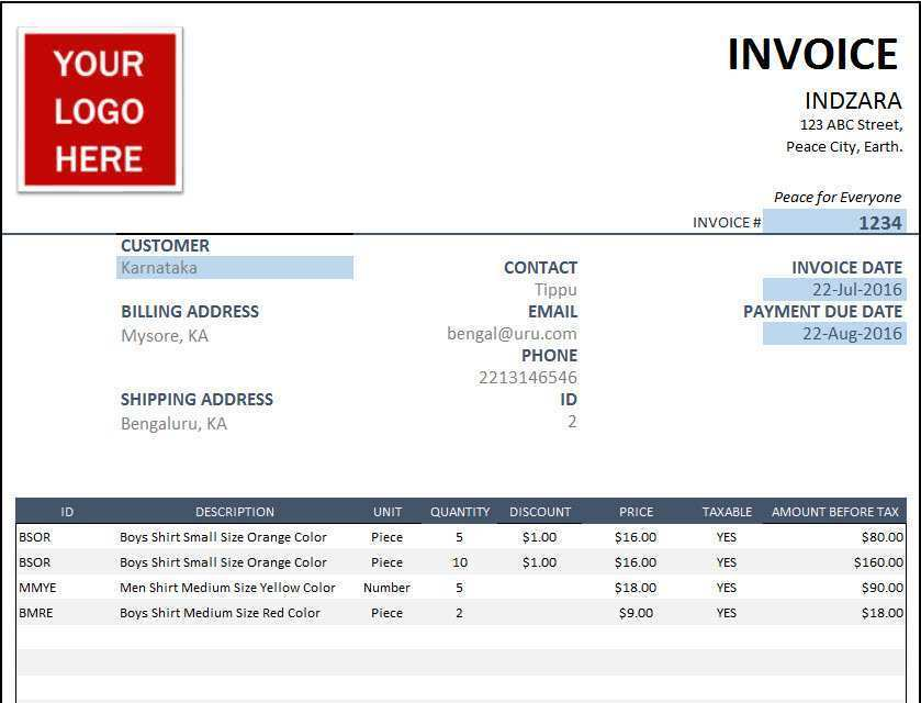 50 Standard Invoice Template Excel For Free with Invoice Template Excel
