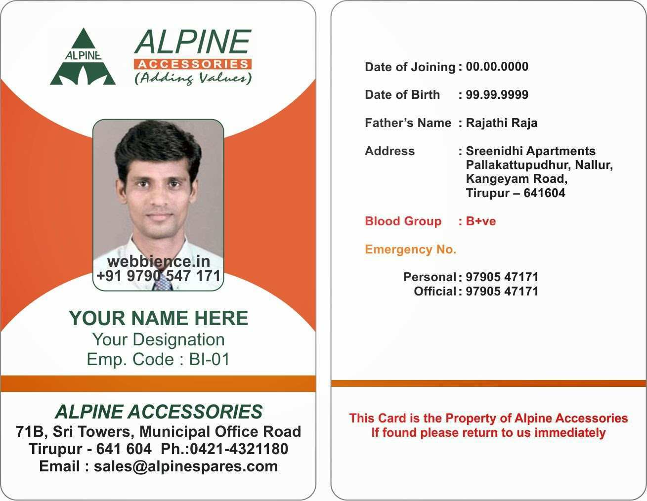 21 Adding Id Card Template Portrait Download with Id Card Template With Regard To Sample Of Id Card Template